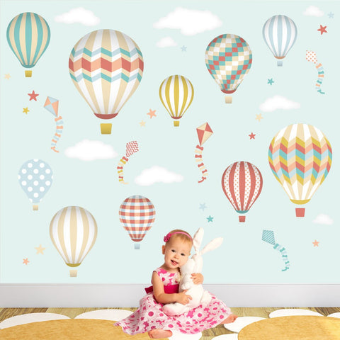 Image of Deluxe Hot Air Balloons & Kites Neutral Wall Stickers - The Stork Has Landed