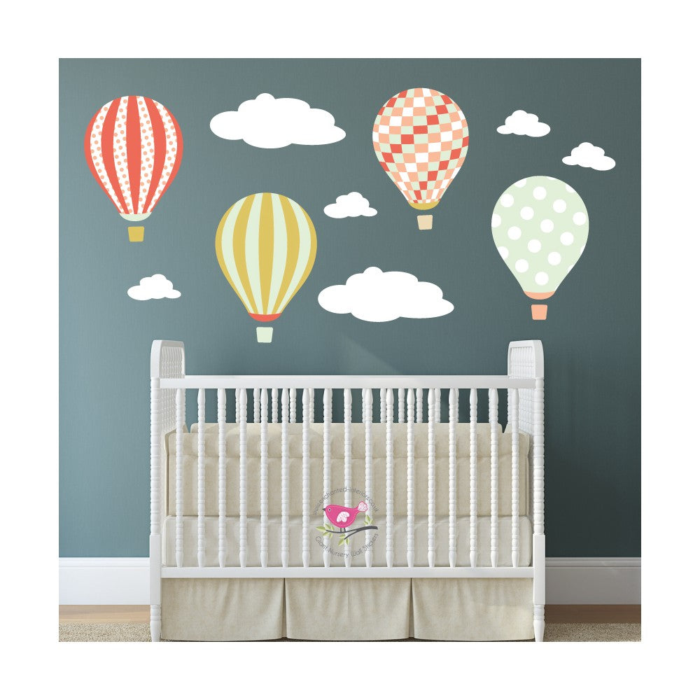 Hot Air Balloon Wall Decals with Clouds - Coral, Mint Gold - The Stork Has Landed