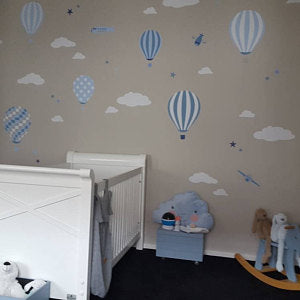 Hot Air Balloon & Jets Wall Art Stickers - Blue and Grey