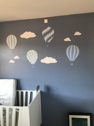 Image of Hot Air Balloon & Jets Wall Art Stickers - Blue and Grey
