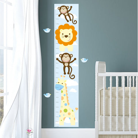 Image of Jungle Animal Kids Growth Chart - Neutral - The Stork Has Landed