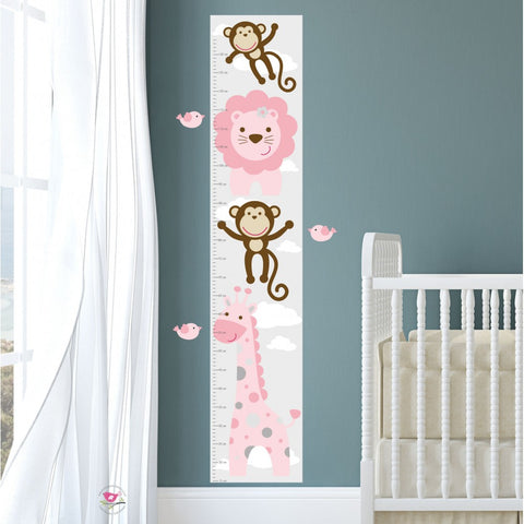 Image of Jungle Animal Kids Growth Chart - Pink Grey - The Stork Has Landed