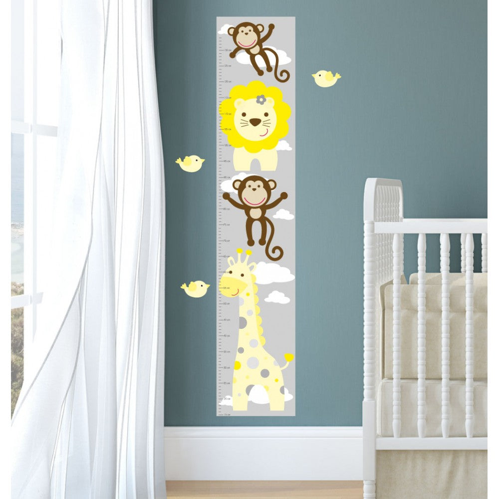 Jungle Animal Kids Growth Chart - Yellow Grey - The Stork Has Landed