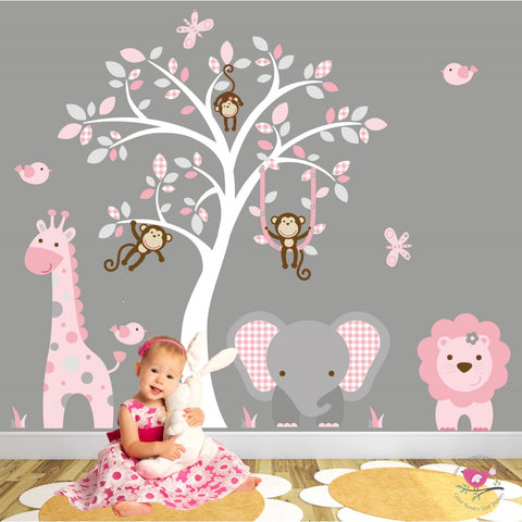 Image of Jungle Wall Art Decals, Pink and Grey Nursery - The Stork Has Landed