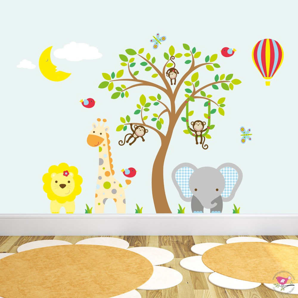 Jungle Wall Decals, Sleeping Moon and Hot Air Balloon - The Stork Has Landed