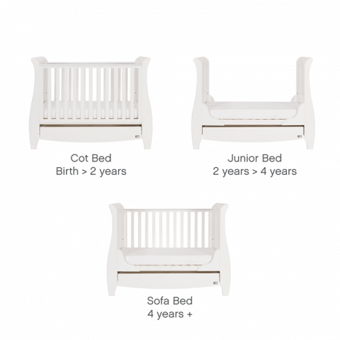 Tutti Bambini - Katie Cot Bed, White with Sprung Mattress - The Stork Has Landed