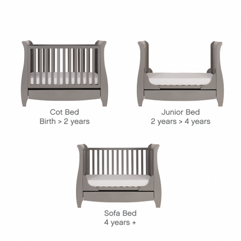 Tutti Bambini - Katie Cot Bed, Cool Grey with Sprung Mattress