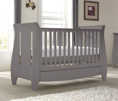 Image of Tutti Bambini - Lucas Cot Bed Cool Grey with Sprung Mattress - The Stork Has Landed