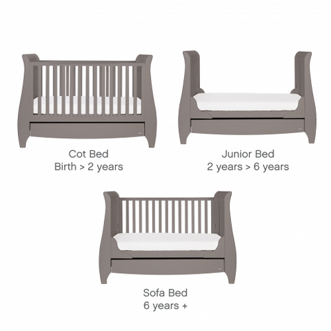 Image of Tutti Bambini - Lucas Cot Bed Cool Grey with Sprung Mattress