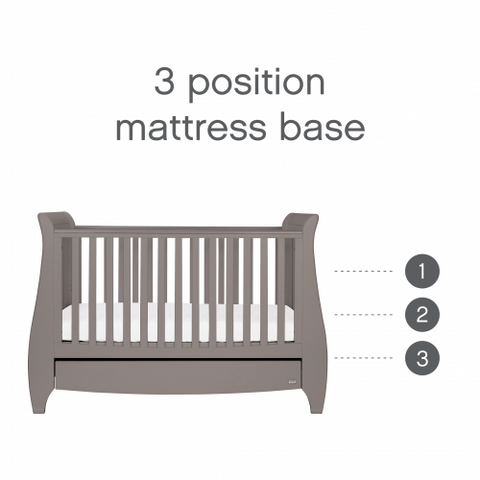 Tutti Bambini - Lucas Cot Bed Cool Grey with Sprung Mattress - The Stork Has Landed
