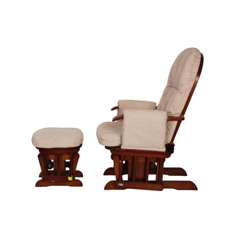 Image of Tutti Bambini Reclining Glider Chair + stool - Walnut