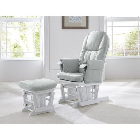 Image of Tutti Bambini Recliner Glider Chair + stool - White/Grey - The Stork Has Landed