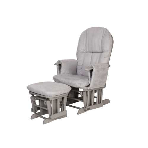 Tutti Bambini Reclining Glider Chair + stool - Grey/Grey - The Stork Has Landed