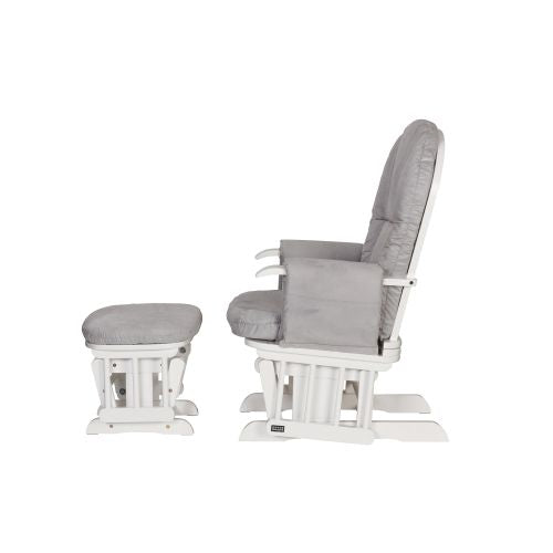 Tutti Bambini Recliner Glider Chair + stool - White/Grey - The Stork Has Landed