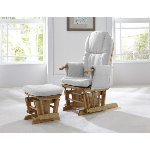 Tutti Bambini Reclining Glider Chair + stool - Natural/Grey - The Stork Has Landed