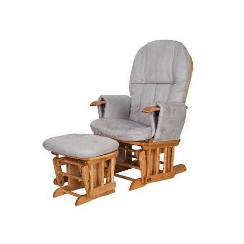 Image of Tutti Bambini Reclining Glider Chair + stool - Natural/Grey