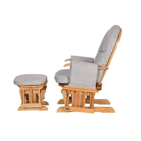Image of Tutti Bambini Reclining Glider Chair + stool - Natural/Grey - The Stork Has Landed