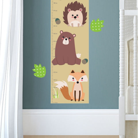 Image of Woodland Animal Growth Chart Decal - The Stork Has Landed