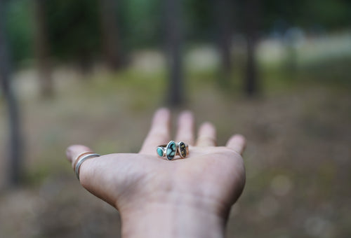 Small Beauty Ring. Varied turquoise stones from American mines. Reclaimed sterling silver + Gold fill.