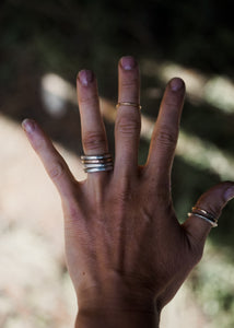 The Drifter Ring. 5.5 A long awaited stacked set. Thick gauged Reclaimed sterling silver + gold fill + Sheep Creek Agate