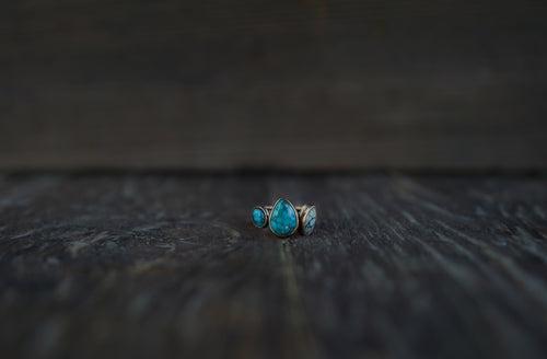 Small Beauty Ring. 7.75. Varied turquoise stones from American mines. Reclaimed 14kt gold, gold fill, and sterling silver.