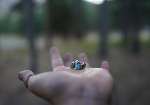 Small Beauty Ring. 6.25. Varied turquoise stones from American mines. Reclaimed sterling silver.