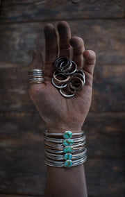 The Drifter Ring.  6.5 Set of 3 silver + gold fill stackers
