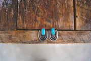 Athena earrings. Mixed metal + Turquoise posts. MED