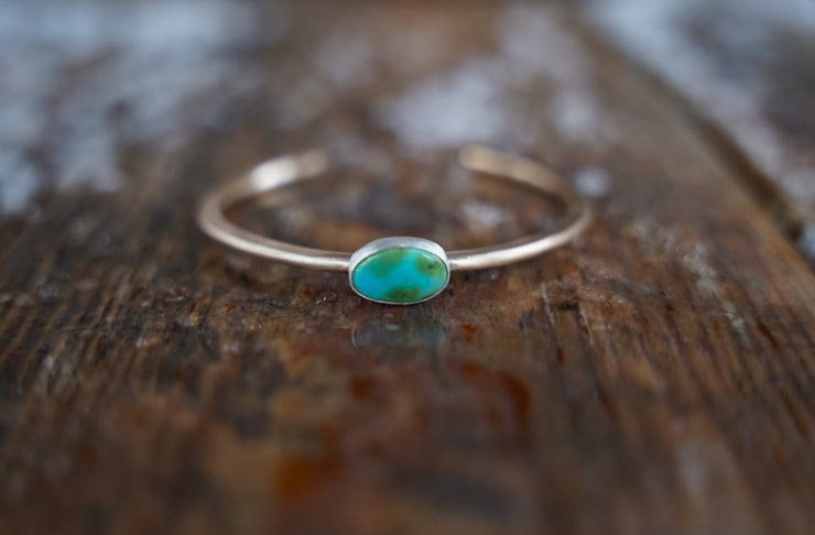 Alpine Lake Cuff. Turquoise + Reclaimed sterling Gold fill.