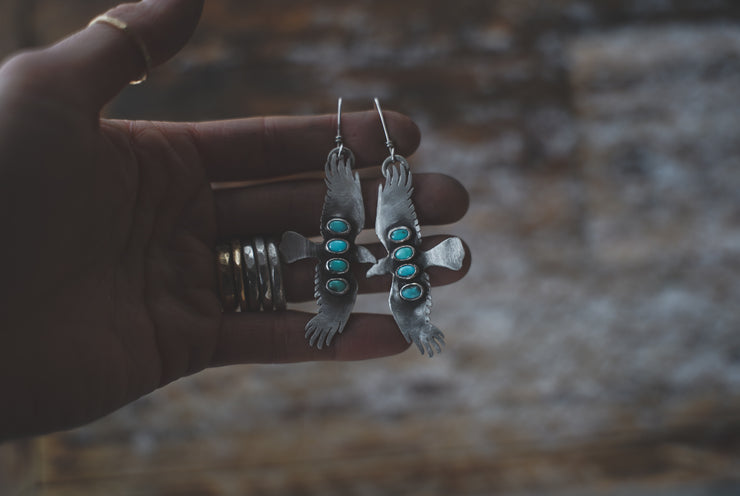 Bird of Prey Earrings with Turquoise Column