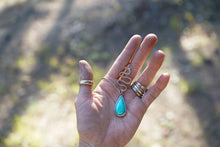 Load image into Gallery viewer, Serpents & Saints Necklace. Simple + Clean. Hand forged Gold filled snake + Chrysoprase tear drop