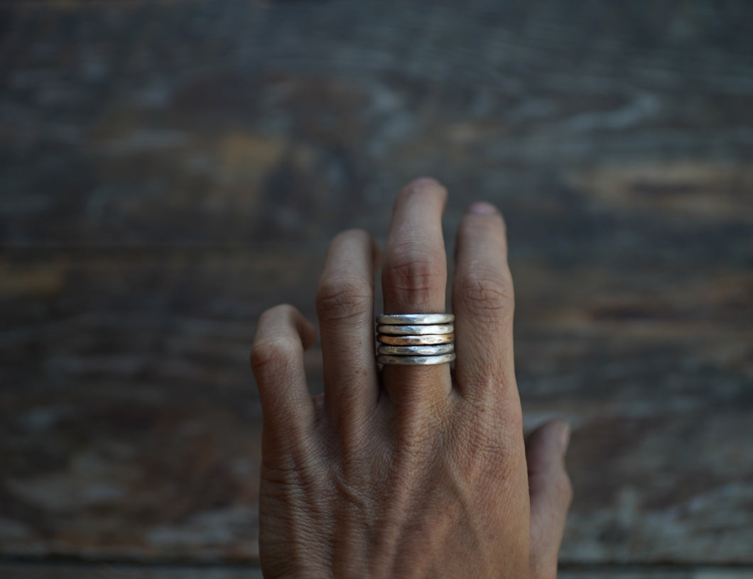 The Drifter Ring. Simple Stackers. 6.5. Thick gauged Reclaimed sterling silver + gold fill.