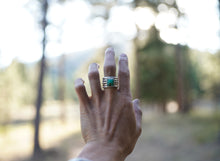 Load image into Gallery viewer, The Drifter Ring 7. Thick gauged Reclaimed sterling silver + gold fill + Chrysoprase square