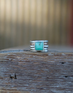 The Drifter Ring 7. Thick gauged Reclaimed sterling silver + gold fill + Chrysoprase square