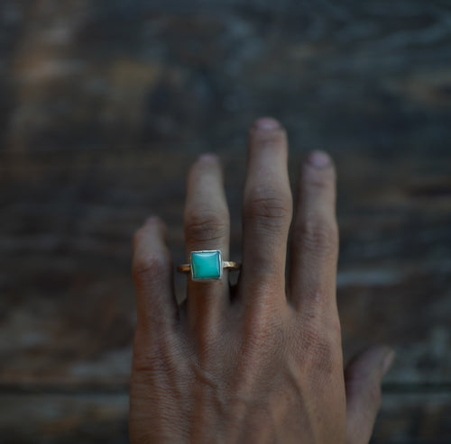 The Drifter Ring Solitaire. Size 5. Thick gauged Reclaimed gold fill + Chrysoprase square