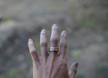 Load image into Gallery viewer, The Drifter Ring. Simple Stackers. 7.75. Thick gauged Reclaimed sterling silver + gold fill.