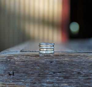 The Drifter Ring. Simple Stackers. 8. Thick gauged Reclaimed sterling silver + gold fill.