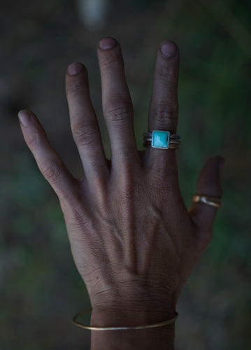 The Drifter Ring Stacker set. Size 8.25. Thick gauged Reclaimed gold fill + Sterling silver + Chrysoprase square