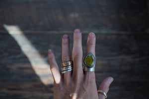 For the Love of Trees ring. Vesuvianite 7. Reclaimed sterling silver.