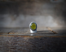 Load image into Gallery viewer, For the Love of Trees ring. Vesuvianite 7. Reclaimed sterling silver.