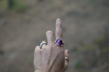 Load image into Gallery viewer, The Orb Ring in Ruby. 8.75. Reclaimed sterling silver + 14kt gold + Faceted Ruby