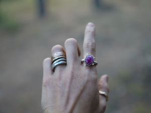 The Orb Ring in Ruby. 7 Reclaimed sterling silver + 14kt gold + Faceted Ruby