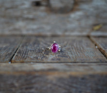 Load image into Gallery viewer, The Orb Ring in Ruby. 6.5. Reclaimed sterling silver + 14kt gold + Faceted Ruby