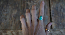 Load image into Gallery viewer, The Orb Ring in Chrysoprase. 6.5. Reclaimed sterling silver + 14 kt gold + Faceted Chrysoprase