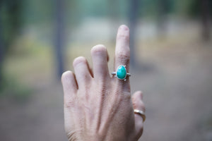 The Orb Ring in Chrysoprase. 6.5. Reclaimed sterling silver + 14 kt gold + Faceted Chrysoprase