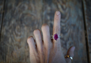 The Orb Ring in Ruby. 6.5. Reclaimed sterling silver + 14kt gold + Faceted Ruby