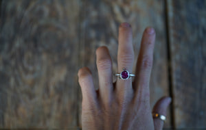 The Orb Ring in Ruby. 8.5. Reclaimed sterling silver + 14kt gold + Faceted Ruby