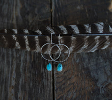 Load image into Gallery viewer, Ancient Art Earrings. Turquoise drops on hand stamped and textured hoops. Reclaimed sterling silver.