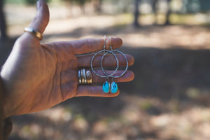 Ancient Art Earrings. Turquoise drops on hand stamped and textured hoops. Reclaimed sterling silver.