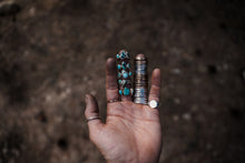 Load image into Gallery viewer, The Drifter Ring. 7. A long awaited stacked set. Thick gauged Reclaimed sterling silver + gold fill + Sheep Creek Agate